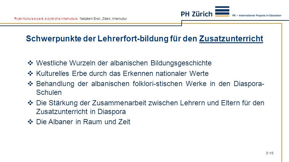 Rrjeti Kultura e parë, e dytë dhe interkultura Netzëerk Erst-, Zëeit-, Interkultur Schwerpunkte der Lehrerfort-bildung für den Zusatzunterricht 9 /16