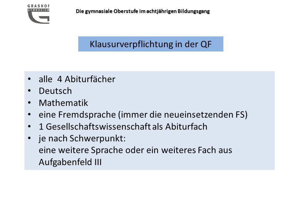 Klausurverpflichtung in der QF alle 4 Abiturfächer Deutsch Mathematik eine Fremdsprache (immer die neueinsetzenden FS) 1 Gesellschaftswissenschaft als Abiturfach je nach Schwerpunkt: eine weitere Sprache oder ein weiteres Fach aus Aufgabenfeld III