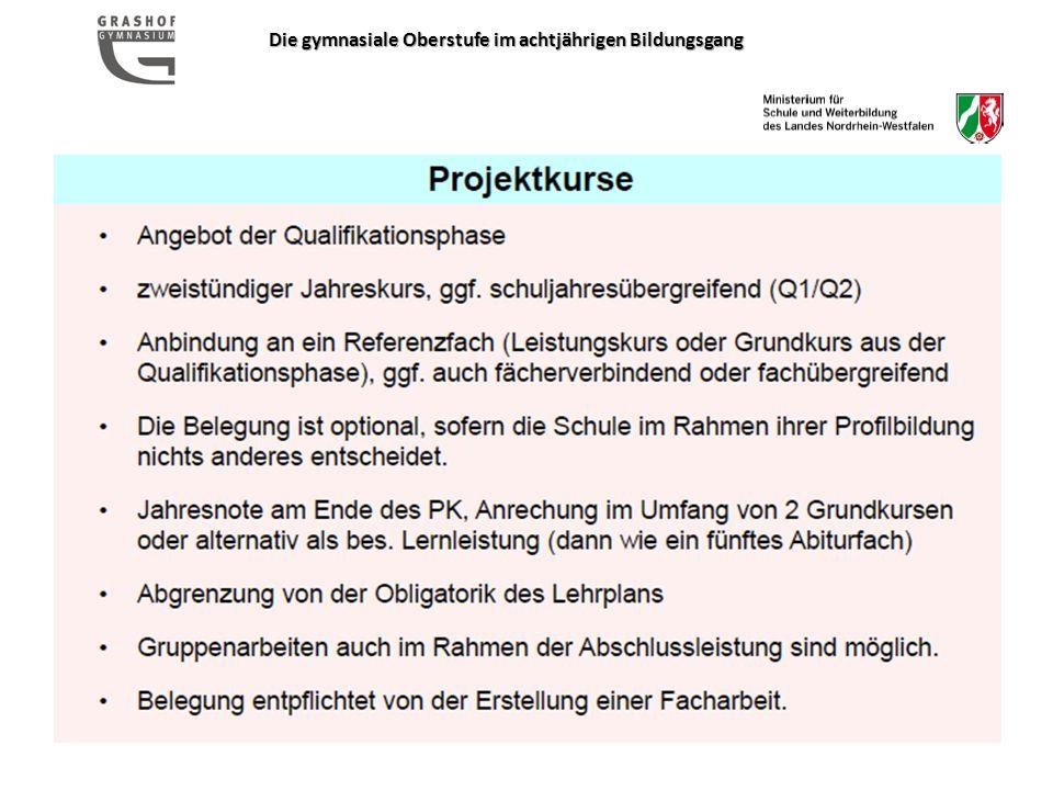 Die gymnasiale Oberstufe im achtjährigen Bildungsgang www.schulministerium.nrw.de www.standardsicherung.de www.grashof-gymnasium.de Telefon: Sekretariat: 85 69 030 Telefon: E.