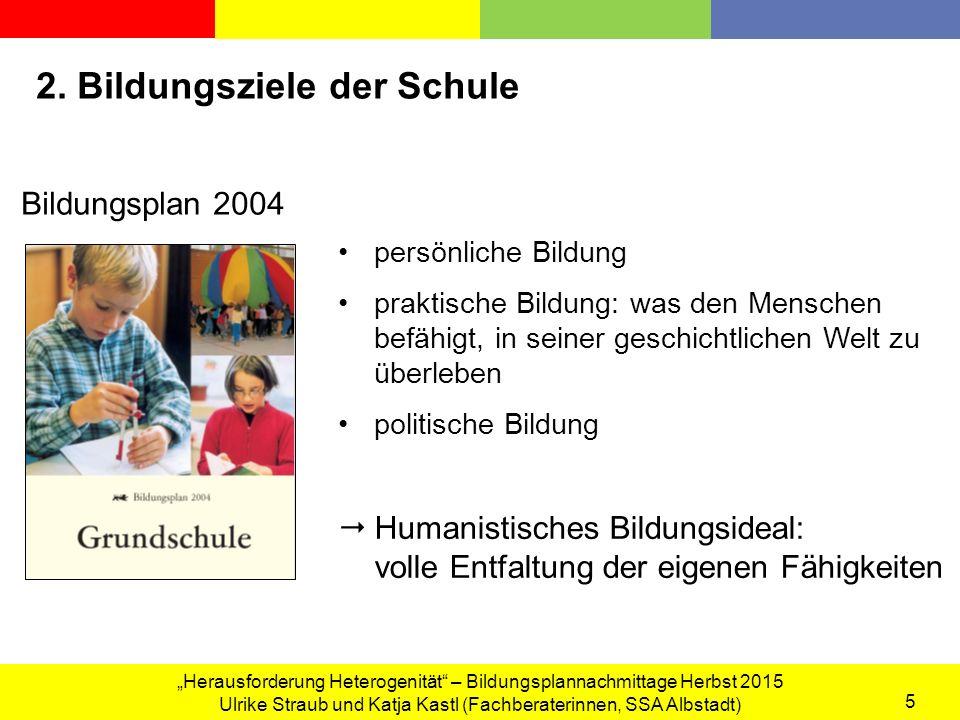 """""""Herausforderung Heterogenität – Bildungsplannachmittage Herbst 2015 Ulrike Straub und Katja Kastl (Fachberaterinnen, SSA Albstadt) 5 2."""