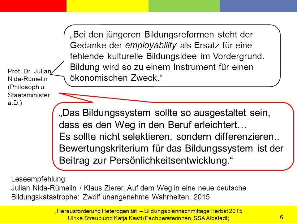 """""""Herausforderung Heterogenität – Bildungsplannachmittage Herbst 2015 Ulrike Straub und Katja Kastl (Fachberaterinnen, SSA Albstadt) 7 3."""