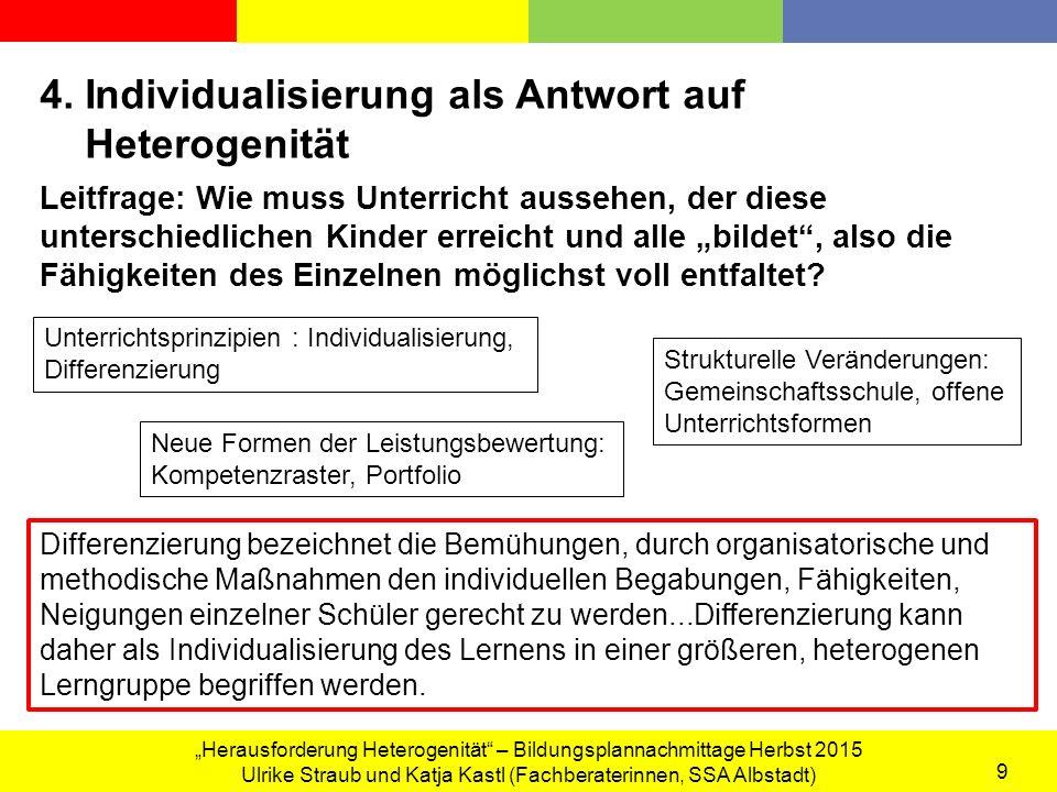 """""""Herausforderung Heterogenität – Bildungsplannachmittage Herbst 2015 Ulrike Straub und Katja Kastl (Fachberaterinnen, SSA Albstadt) 9 4."""