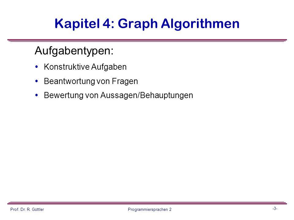 -2- Prof. Dr. R. Güttler Programmiersprachen 2 Kapitel 4: Graph Algorithmen Einige Prinzipien:  Es wird mehr an Aufgabenstoff angeboten, als auch für