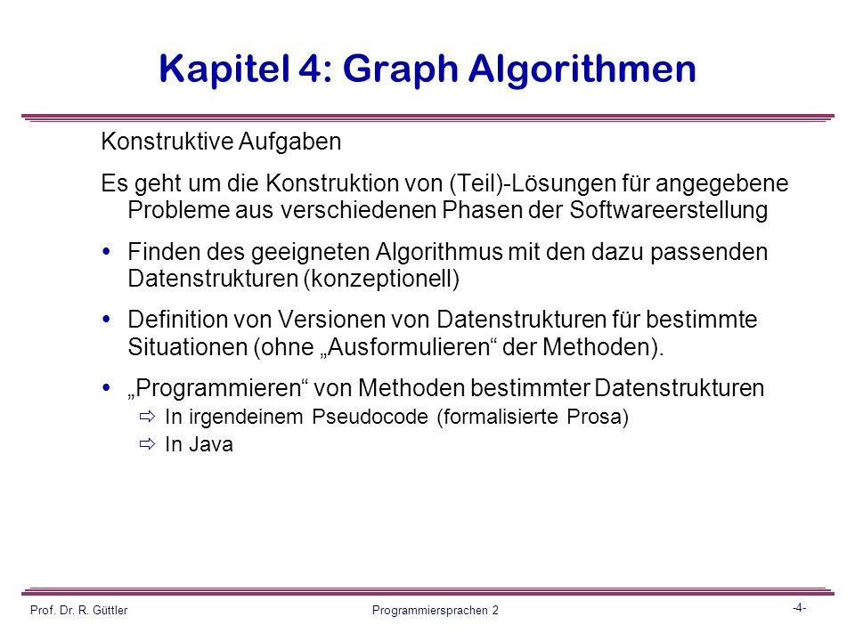 -3- Prof. Dr. R. Güttler Programmiersprachen 2 Kapitel 4: Graph Algorithmen Aufgabentypen:  Konstruktive Aufgaben  Beantwortung von Fragen  Bewertu