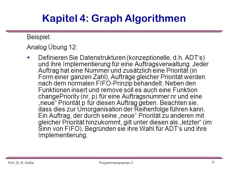 -4- Prof. Dr. R. Güttler Programmiersprachen 2 Kapitel 4: Graph Algorithmen Konstruktive Aufgaben Es geht um die Konstruktion von (Teil)-Lösungen für
