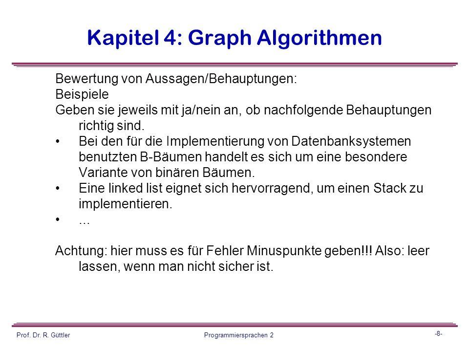 -7- Prof. Dr. R. Güttler Programmiersprachen 2 Kapitel 4: Graph Algorithmen Beantwortung von Fragen: Beispiele  Begründen sie warum (unter welchen Be