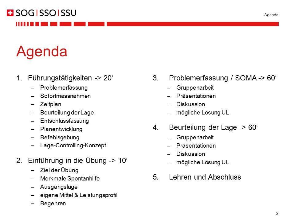 2 Agenda 1.Führungstätigkeiten -> 20' –Problemerfassung –Sofortmassnahmen –Zeitplan –Beurteilung der Lage –Entschlussfassung –Planentwicklung –Befehls