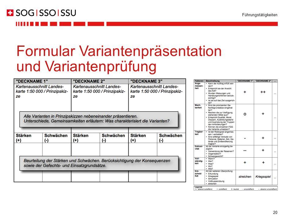 20 Führungstätigkeiten Formular Variantenpräsentation und Variantenprüfung