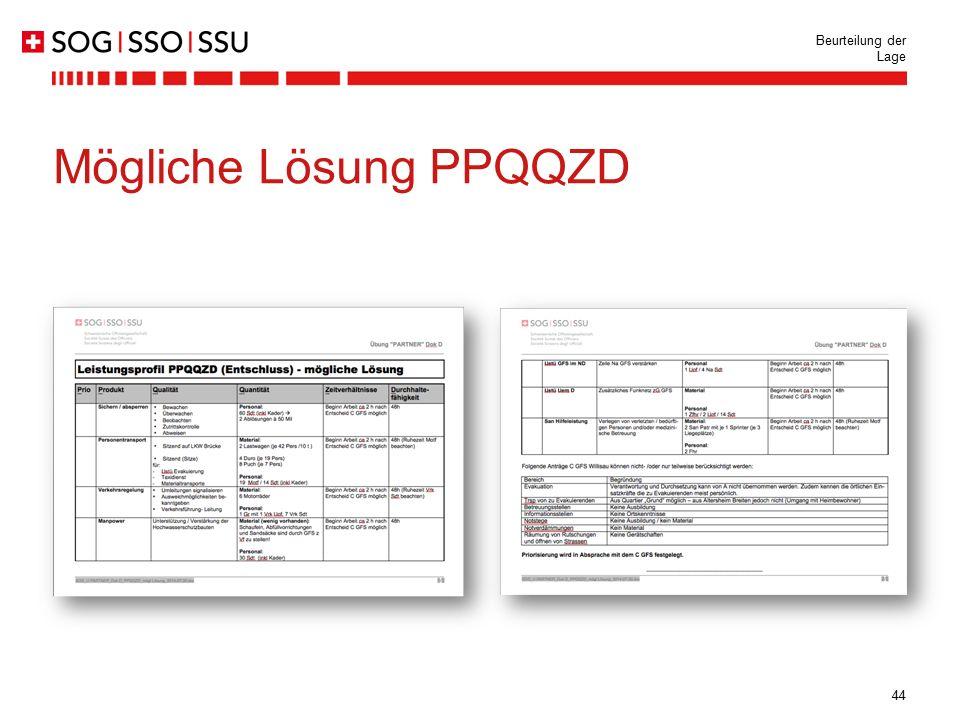 44 Beurteilung der Lage Mögliche Lösung PPQQZD