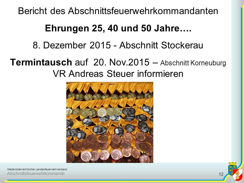Niederösterreichischer Landesfeuerwehrverband Abschnittsfeuerwehrkommando Bericht des Abschnittsfeuerwehrkommandanten Ehrungen 25, 40 und 50 Jahre….