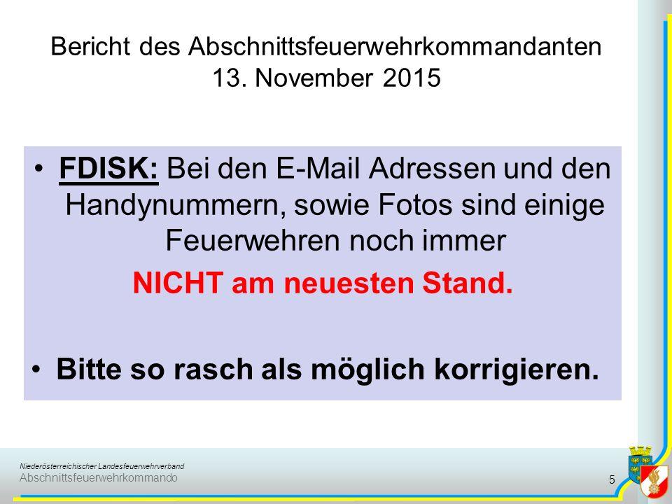 Bericht des Abschnittsfeuerwehrkommandanten 13. November 2015 16