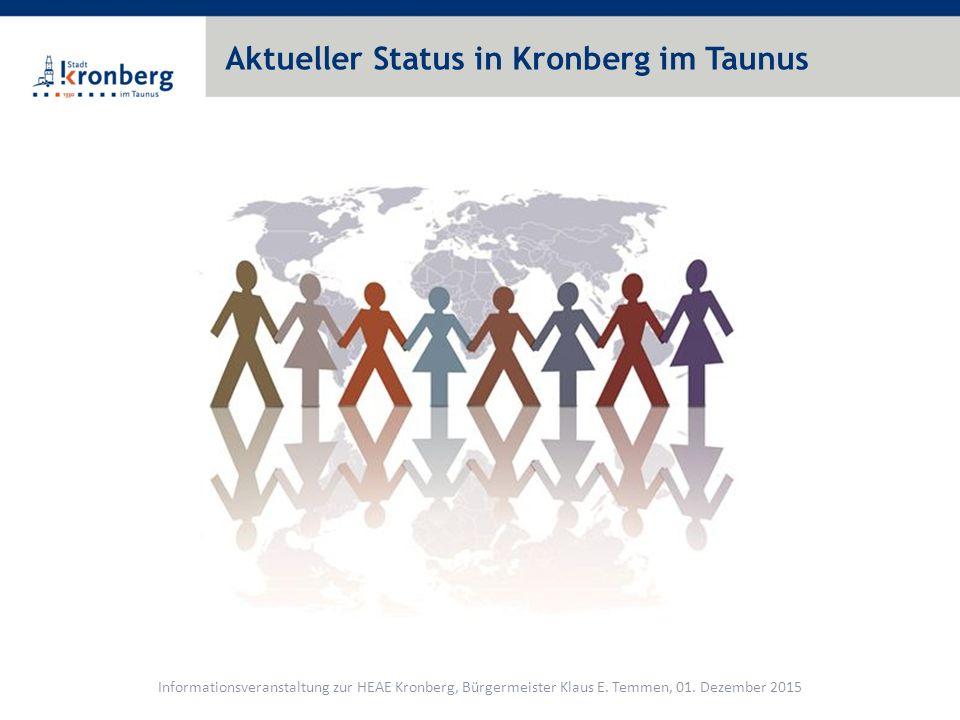 Flüchtlingszahlen – Kronberg im Taunus Informationsveranstaltung zur HEAE Kronberg, Bürgermeister Klaus E.