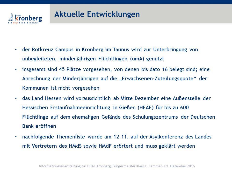 Themenliste Bürgerinformation Informationen an die direkten Anlieger der HEAE Informelle Einbindung der Stadt Königstein Wann ist der Termin für die Inbetriebnahme der Einrichtung nach aktuellem Planungsstand.