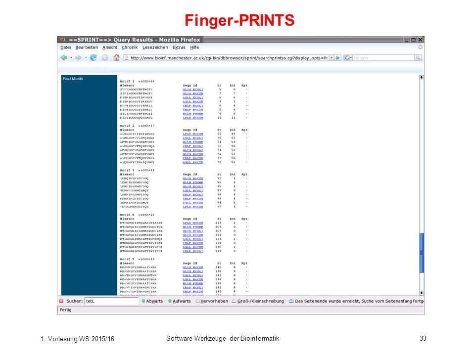 1. Vorlesung WS 2015/16 Software-Werkzeuge der Bioinformatik33 Finger-PRINTS