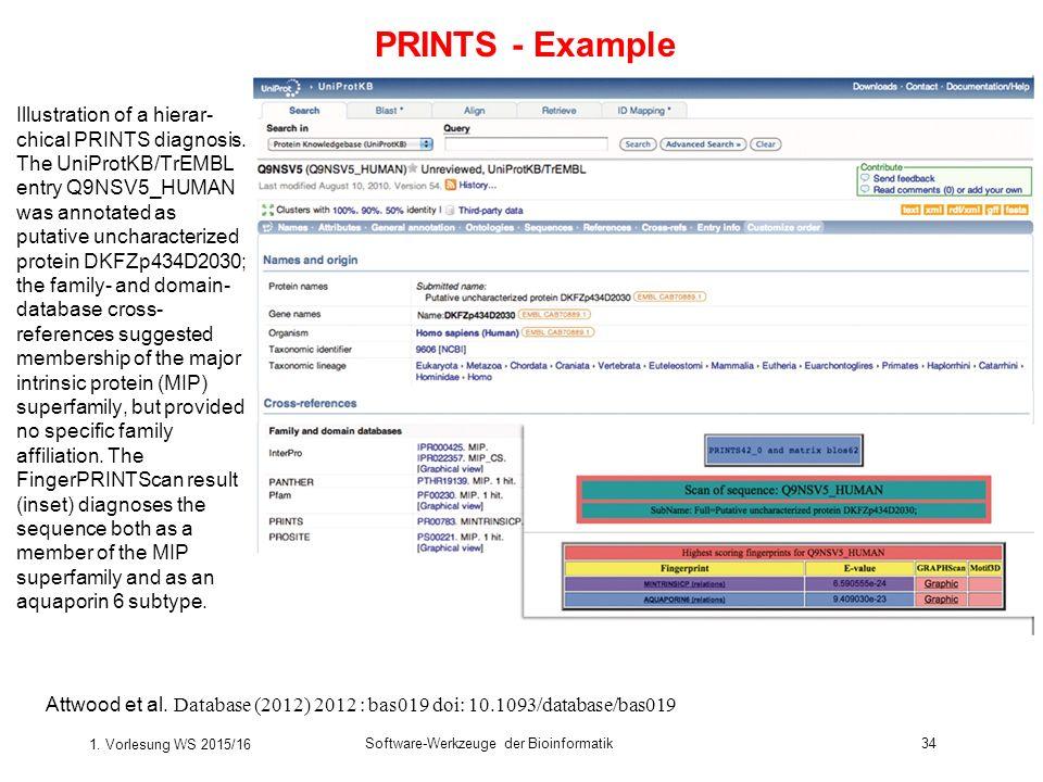 1. Vorlesung WS 2015/16 Software-Werkzeuge der Bioinformatik34 Illustration of a hierar- chical PRINTS diagnosis. The UniProtKB/TrEMBL entry Q9NSV5_HU
