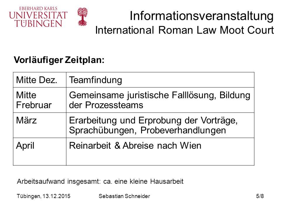 Informationsveranstaltung International Roman Law Moot Court Was hat man von der Teilnahme.