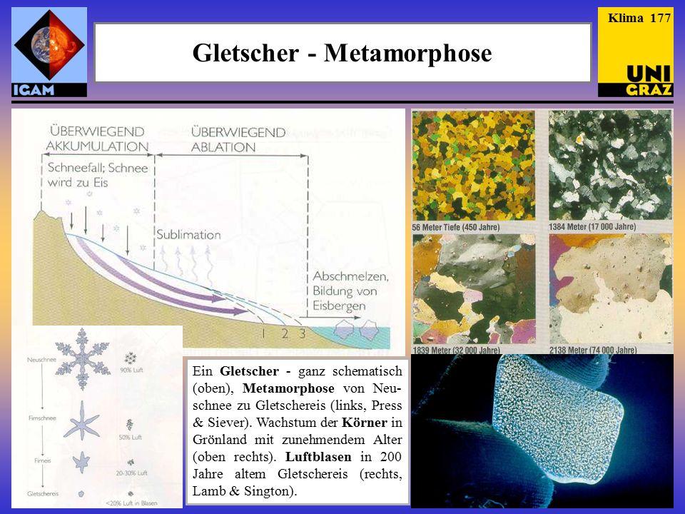 Gletscher - Metamorphose Ein Gletscher - ganz schematisch (oben), Metamorphose von Neu- schnee zu Gletschereis (links, Press & Siever).