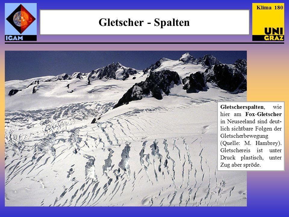 Gletscher - Spalten Klima 180 Gletscherspalten, wie hier am Fox-Gletscher in Neuseeland sind deut- lich sichtbare Folgen der Gletscherbewegung (Quelle: M.