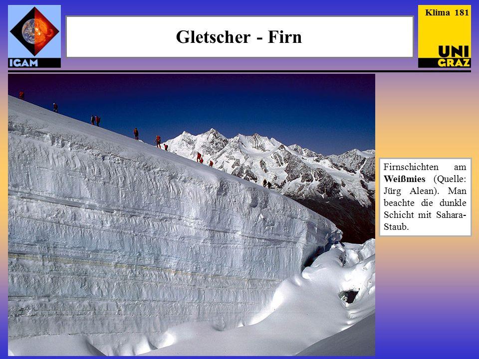 Gletscher - Firn Firnschichten am Weißmies (Quelle: Jürg Alean).