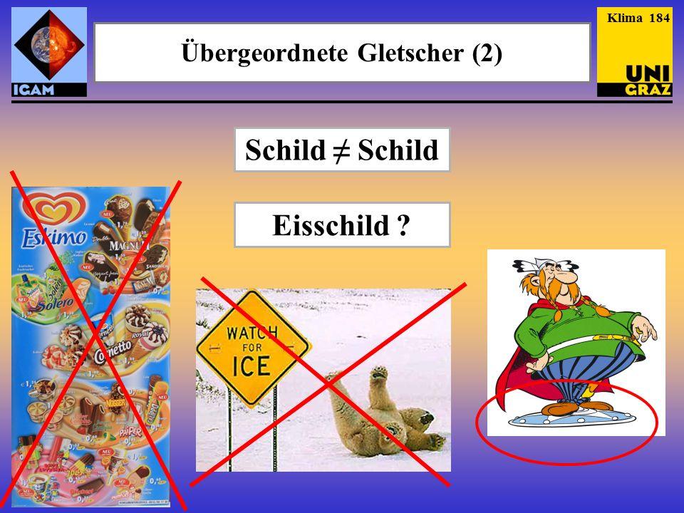 Übergeordnete Gletscher (2) Schild ≠ Schild Klima 184 Eisschild ?