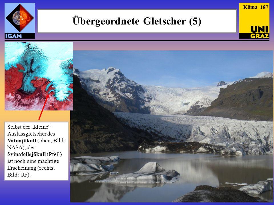 """Selbst der """"kleine Auslassgletscher des Vatnajökull (oben, Bild: NASA), der Svinafellsjökull (Pfeil) ist noch eine mächtige Erscheinung (rechts, Bild: UF)."""