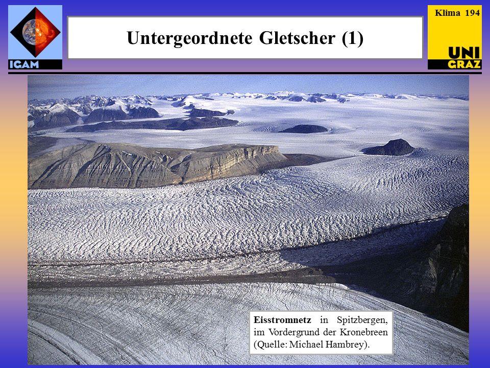 Klima 194 Untergeordnete Gletscher (1) Eisstromnetz in Spitzbergen, im Vordergrund der Kronebreen (Quelle: Michael Hambrey).