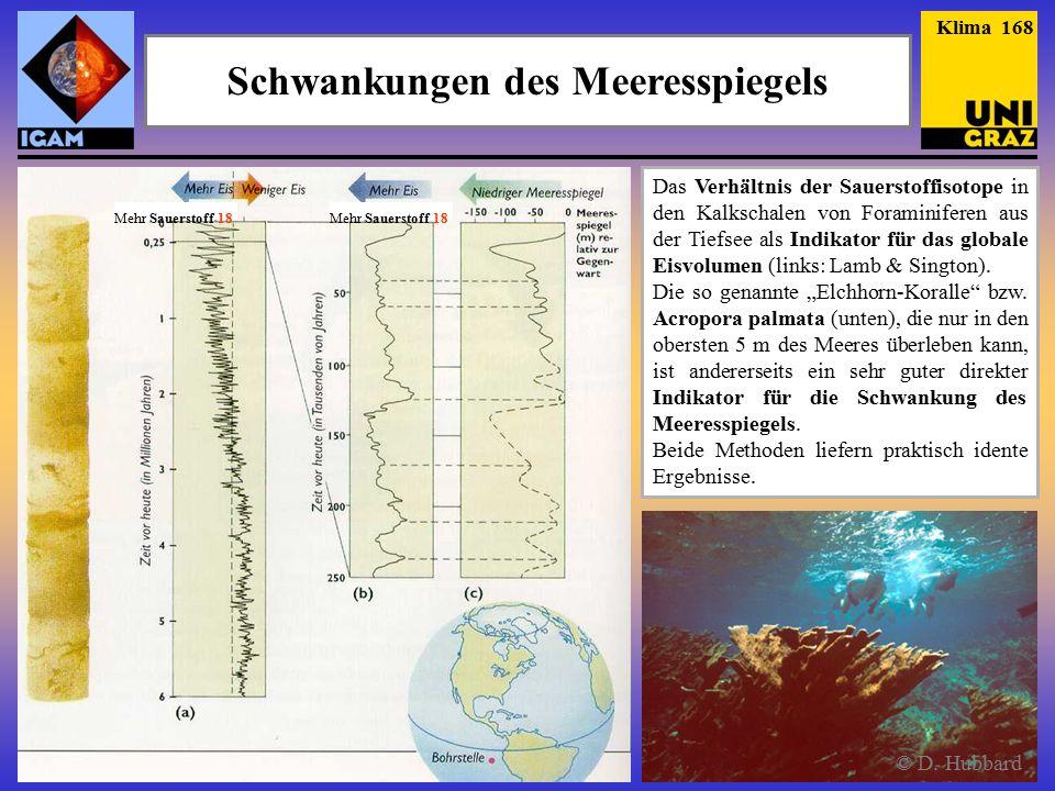 Schwankungen des Meeresspiegels Das Verhältnis der Sauerstoffisotope in den Kalkschalen von Foraminiferen aus der Tiefsee als Indikator für das globale Eisvolumen (links: Lamb & Sington).