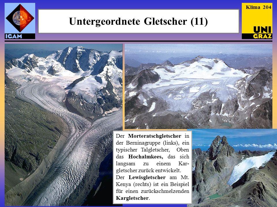 Der Morteratschgletscher in der Berninagruppe (links), ein typischer Talgletscher, Oben das Hochalmkees, das sich langsam zu einem Kar- gletscher zurück entwickelt.