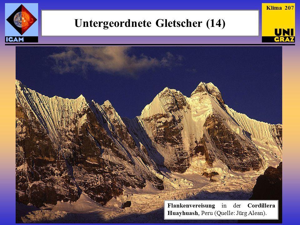 Klima 207 Untergeordnete Gletscher (14) Flankenvereisung in der Cordillera Huayhuash, Peru (Quelle: Jürg Alean).