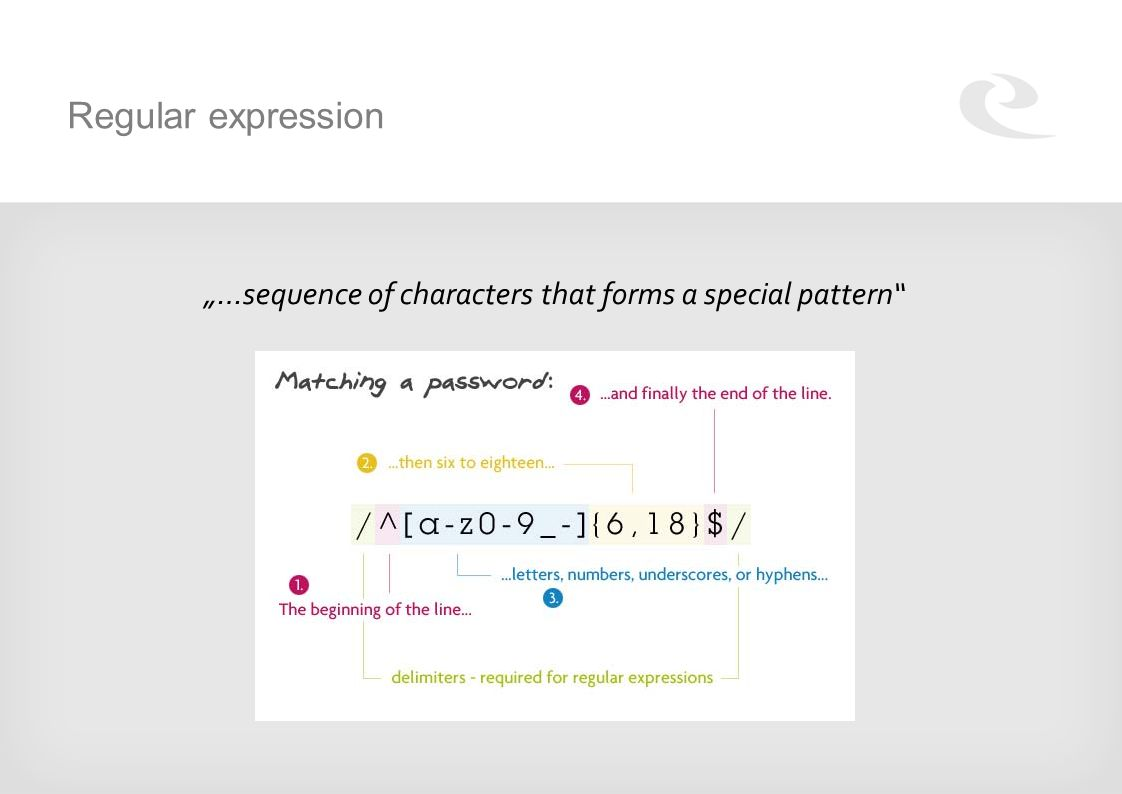 "Regular expression ""…sequence of characters that forms a special pattern"""