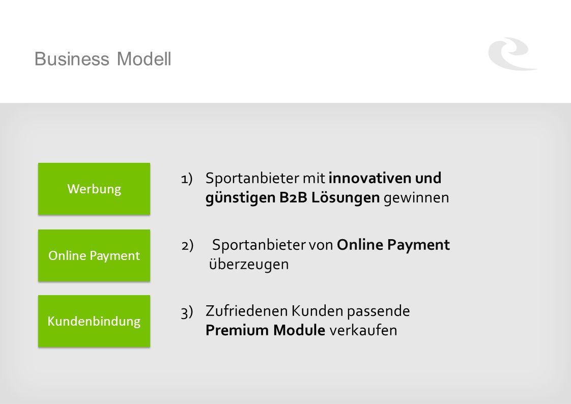 Business Modell 1)Sportanbieter mit innovativen und günstigen B2B Lösungen gewinnen 2) Sportanbieter von Online Payment überzeugen 3)Zufriedenen Kunden passende Premium Module verkaufen Werbung Online Payment Kundenbindung