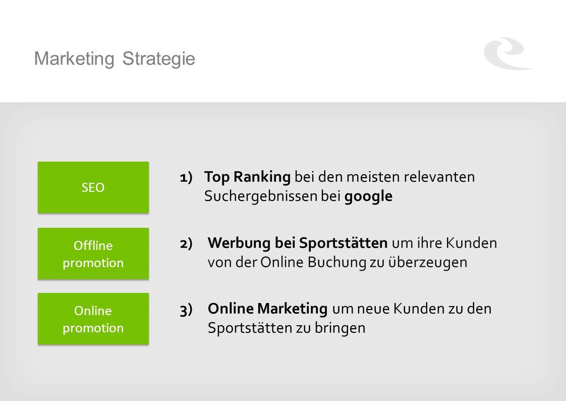 Marketing Strategie 1)Top Ranking bei den meisten relevanten Suchergebnissen bei google 2) Werbung bei Sportstätten um ihre Kunden von der Online Buchung zu überzeugen 3) Online Marketing um neue Kunden zu den Sportstätten zu bringen SEO Offline promotion Online promotion