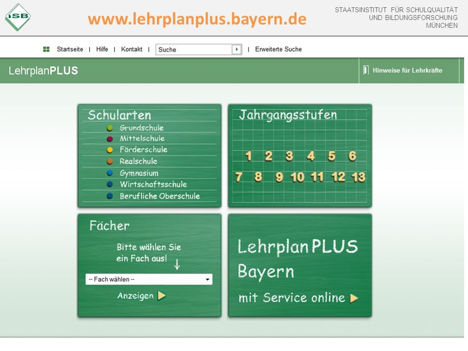 STAATSINSTITUT FÜR SCHULQUALITÄT UND BILDUNGSFORSCHUNG MÜNCHEN www.lehrplanplus.bayern.de