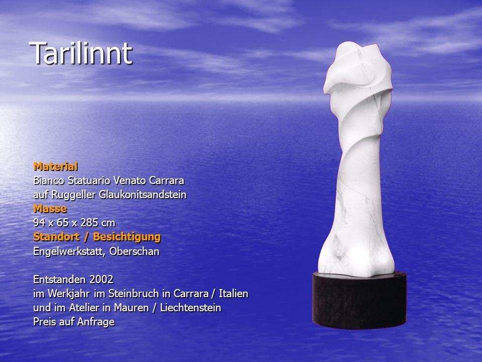 Tarilinnt Material Bianco Statuario Venato Carrara auf Ruggeller Glaukonitsandstein Masse 94 x 65 x 285 cm Standort / Besichtigung Engelwerkstatt, Obe