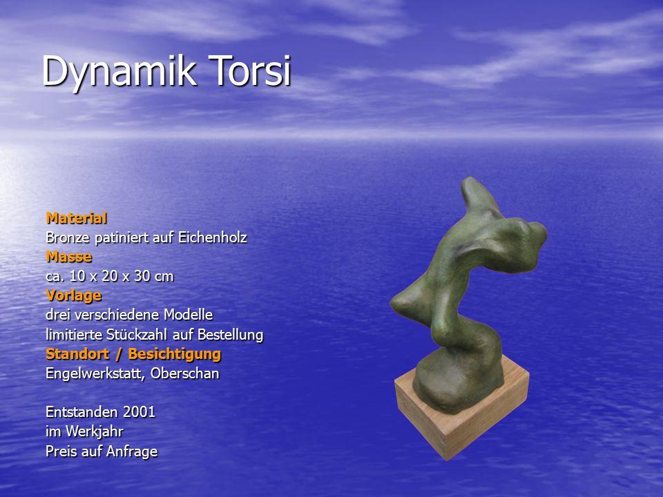 Dynamik Torsi Material Bronze patiniert auf Eichenholz Masse ca. 10 x 20 x 30 cm Vorlage drei verschiedene Modelle limitierte Stückzahl auf Bestellung