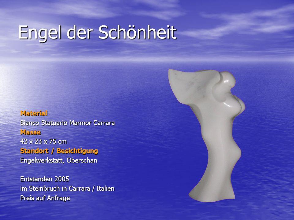 Engel der Stille Material Bianco Statuario Marmor Carrara Masse 60 x 23 x 67 cm Standort / Besichtigung Engelwerkstatt, Oberschan Entstanden 2005 im Steinbruch in Carrara / Italien Preis auf Anfrage