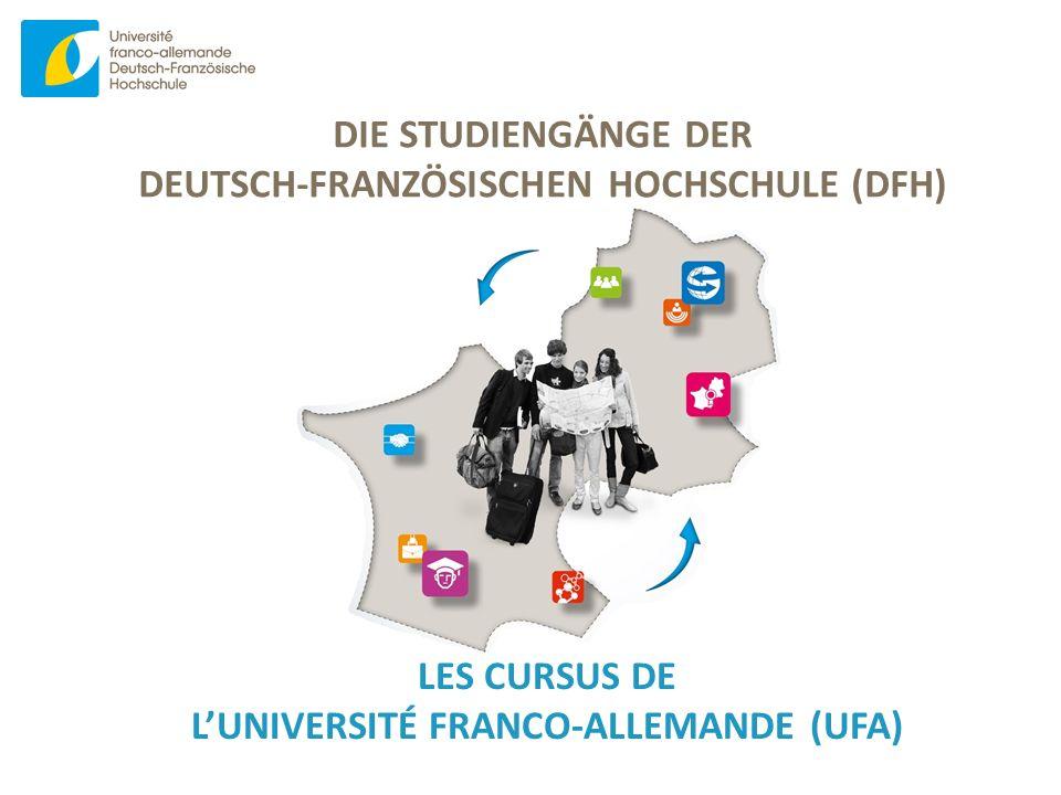 Die Deutsch-Französische Hochschule (DFH) L Université franco-allemande (UFA) 1997 Die DFH ist eine internationale Institution, gegründet im Jahr L'UFA est une institution internationale, fondée en Missions : … Le renforcement de la coopération franco-allemande dans les domaines de l'enseignement supérieur et de la recherche ….