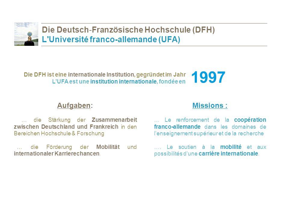 Integrierte Studiengänge / Des cursus intégrés Bachelor / Licence Master PhD / Doctorat Forschungsprogramme / Des programmes de recherche Die Förderprogramme der DFH Que soutient l UFA?