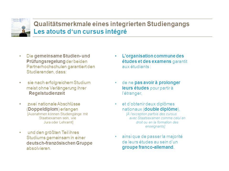 Les étudiants passent en théorie la moitié de leurs études (de 2 à 3 semestres) dans le pays partenaire, sont préparés en tous points à leur séjour à l'étranger (cours de langue, etc…), profitent chez eux, comme à l'étranger, d'un encadrement et d'un soutien particulier, développent grâce à leur séjour dans la/les université(s) partenaire(s) des connaissances solides, aussi bien dans leur discipline que dans la langue et la culture du/des pays partenaire(s).