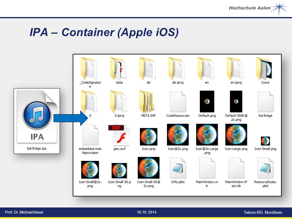 Prof. Dr. Michael Bauer16.10. 2014 Tekom-RG Nordrhein IPA – Container (Apple iOS)