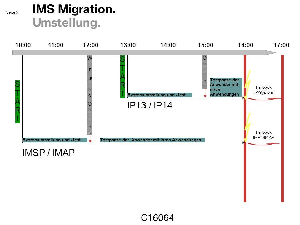 Seite 5 IMS Migration. Umstellung. 10:0017:00 C16064 11:0012:0013:0015:0014:0016:00 Fallback IP/System Fallback IMP1/IMAP STARTSTART W i r s i n d O n