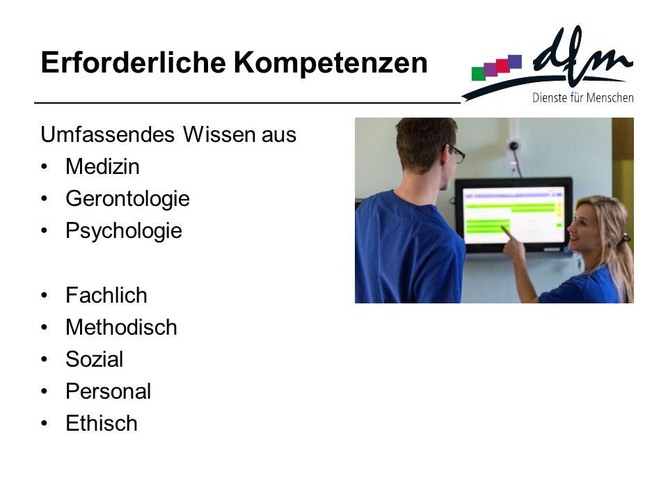 Erforderliche Kompetenzen Umfassendes Wissen aus Medizin Gerontologie Psychologie Fachlich Methodisch Sozial Personal Ethisch