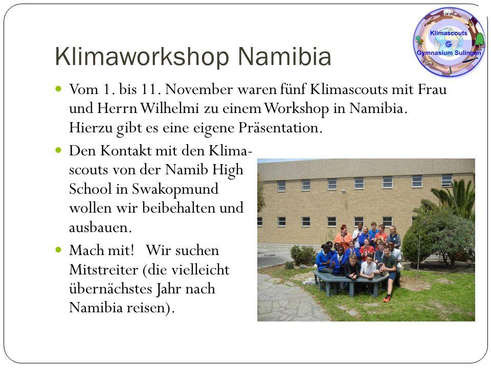 Klimaworkshop Namibia Vom 1. bis 11. November waren fünf Klimascouts mit Frau und Herrn Wilhelmi zu einem Workshop in Namibia. Hierzu gibt es eine eig