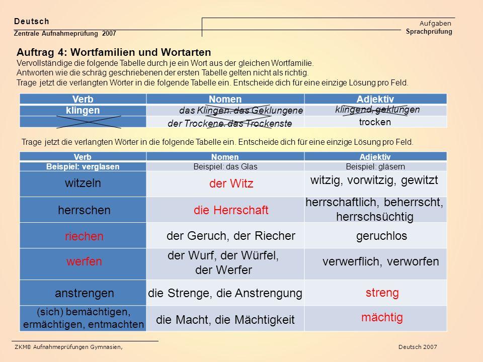 VerbNomenAdjektiv klingen trocken der Trockene. das Trockenste das Klingen. das Geklungene Deutsch Aufgaben Sprachprüfung Zentrale Aufnahmeprüfung 200