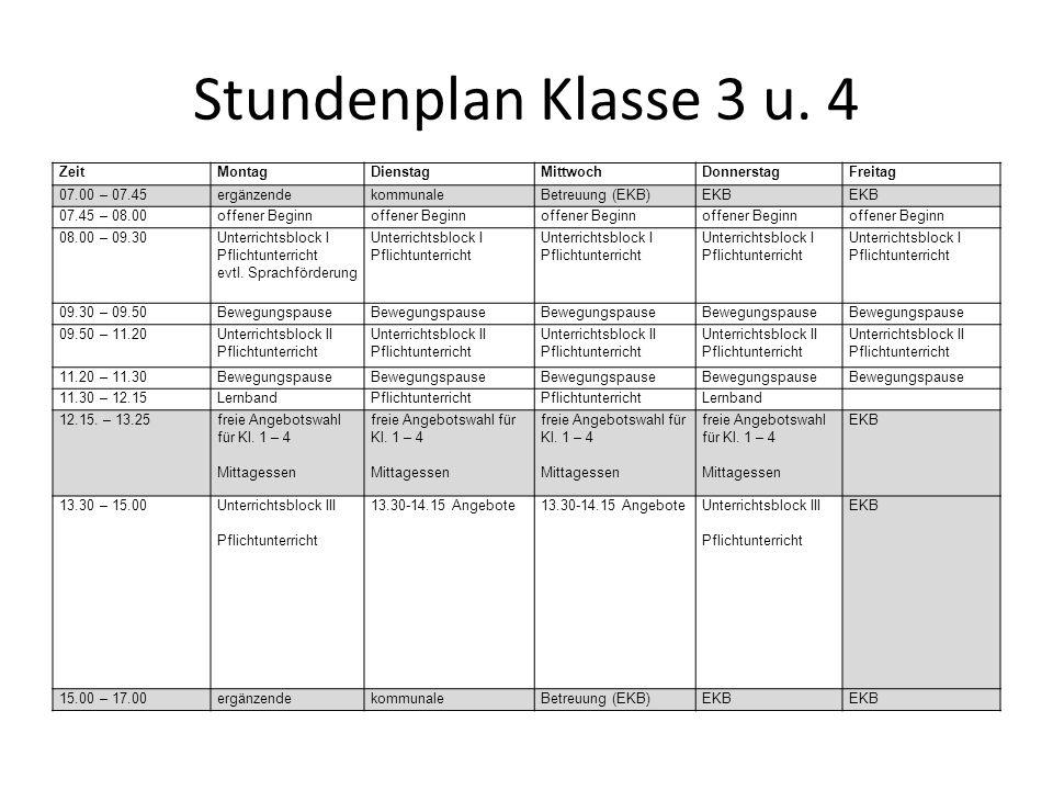 Stundenplan Klasse 3 u. 4 ZeitMontagDienstagMittwochDonnerstagFreitag 07.00 – 07.45ergänzendekommunaleBetreuung (EKB)EKB 07.45 – 08.00offener Beginn 0
