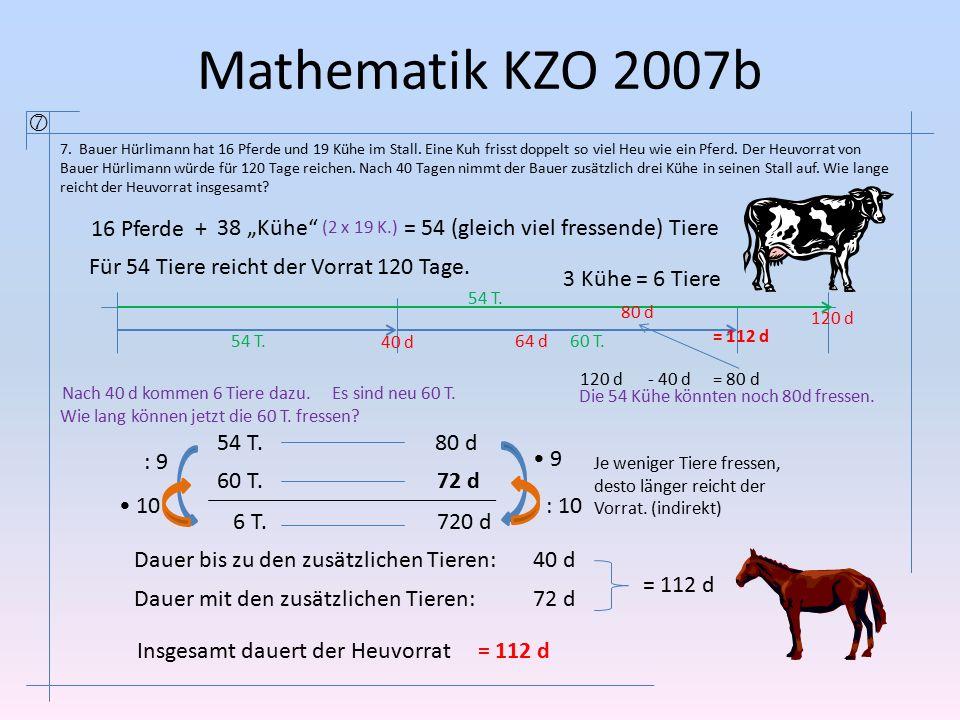 Mathematik KZO 2007b  7. Bauer Hürlimann hat 16 Pferde und 19 Kühe im Stall. Eine Kuh frisst doppelt so viel Heu wie ein Pferd. Der Heuvorrat von Bau
