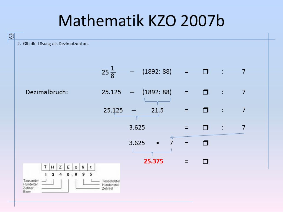 Mathematik KZO 2007b  2. Gib die Lösung als Dezimalzahl an. (1892: 88)=  :7 25.125 (1892: 88)=  :7 21.525.125 =  :7 3.625=  :7 =  7 25.375=  De
