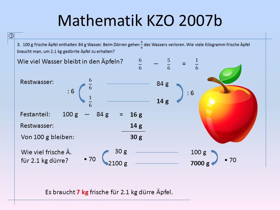 Mathematik KZO 2007b 100 g 84 g 2100 g 14 g : 6 70 30 g 7000 g Wie viel Wasser bleibt in den Äpfeln? = Festanteil:100 g 84 g= 16 g Restwasser:14 g Von