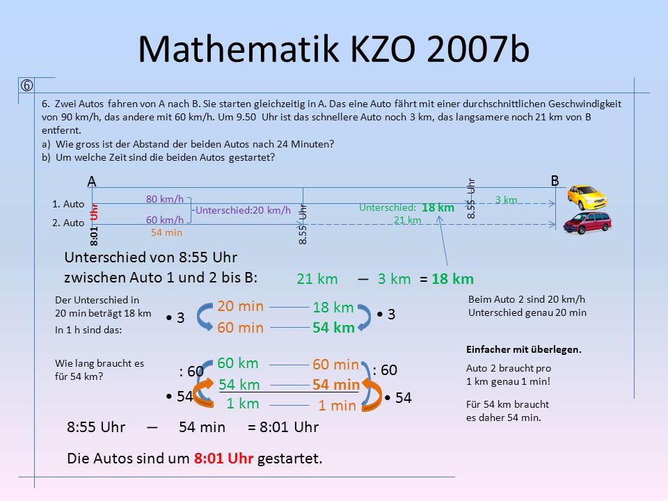 Mathematik KZO 2007b  6. Zwei Autos fahren von A nach B. Sie starten gleichzeitig in A. Das eine Auto fährt mit einer durchschnittlichen Geschwindigk