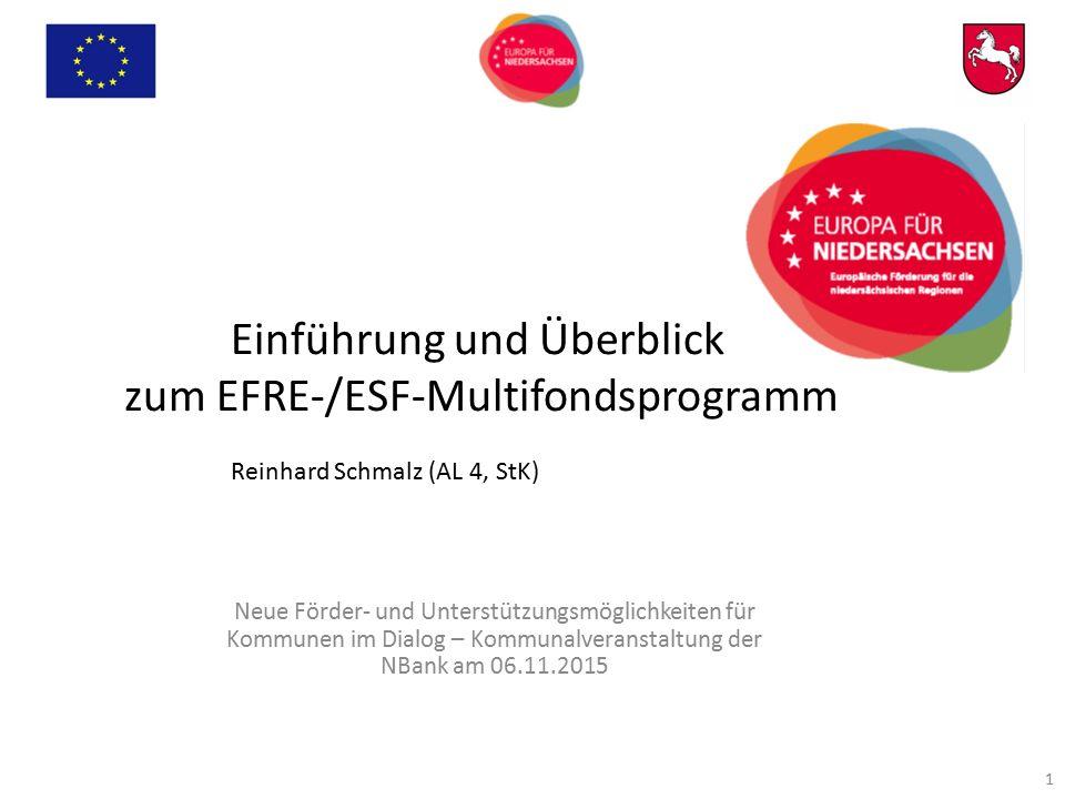 Einführung und Überblick zum EFRE-/ESF-Multifondsprogramm Reinhard Schmalz (AL 4, StK) Neue Förder- und Unterstützungsmöglichkeiten für Kommunen im Di
